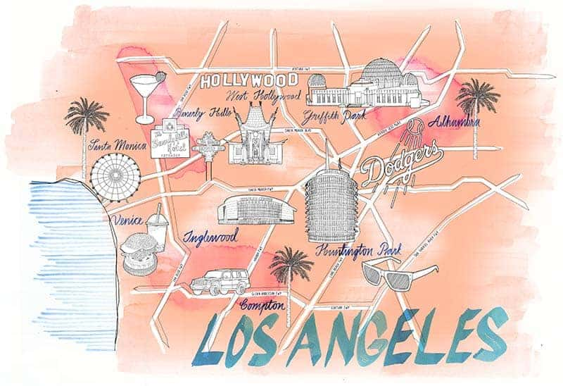 Los Angeles City Map Drawing illustration Jitesh Patel